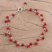 Carnelian link bracelet, 'Fiery Circle' - Carnelian and Sterling Silver Link Bracelet from India