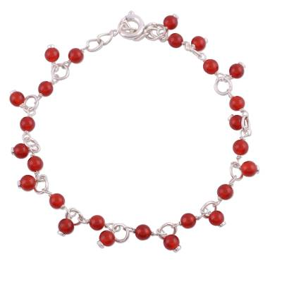 Carnelian link bracelet, 'Fiery Circle' - Carnelian and Sterling Silver Link Bracelet from India
