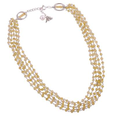 Citrine and cultured pearl beaded necklace, 'Lotus Beauty' - Citrine and Cultured Pearl Beaded Necklace from India