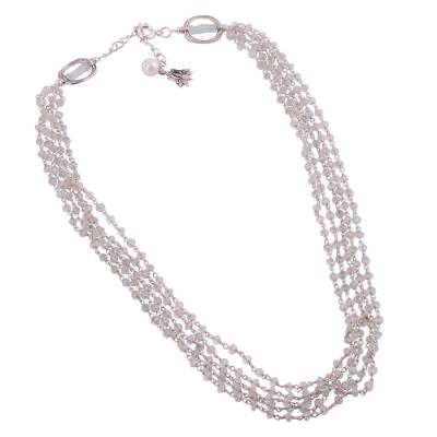 Aquamarine and Cultured Pearl Beaded Necklace from India