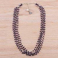 Amethyst and cultured pearl beaded necklace, 'Lotus Beauty' - Amethyst and Cultured Pearl Beaded Necklace from India