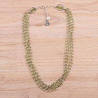 Peridot and cultured pearl beaded necklace, 'Lotus Beauty' - Peridot and Cultured Pearl Beaded Necklace from India