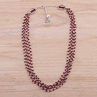 Ruby and cultured pearl beaded necklace, 'Lotus Beauty'