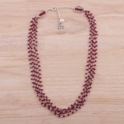 Ruby and cultured pearl beaded necklace, 'Lotus Beauty' - Ruby and Cultured Pearl Beaded Necklace from India