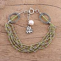 Peridot and cultured pearl beaded bracelet, 'Lotus Beauty' - Peridot and Cultured Pearl Beaded Bracelet from India