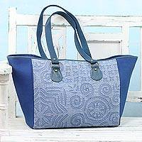 Leather accent cotton tote bag, 'Trendy Blue' - Leather Accent Cotton Appliqué Tote in Blue from India