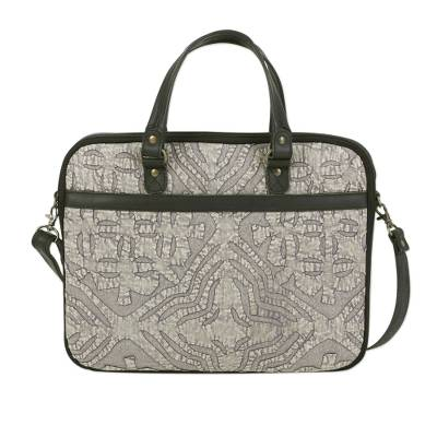 Leather Accent Cotton Applique Laptop Bag from India