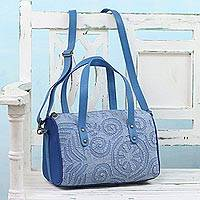 Leather accent cotton handle handbag, 'Stylish Blue' - Leather Accent Cotton Applique Handle Handbag in Blue