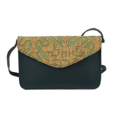 Applique Leather Accent Cotton Shoulder Bag in Green