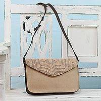 Leather accent cotton shoulder bag, 'Beige Traveler' - Leather Accent Cotton Applique Shoulder Bag from India
