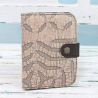 Leather accent cotton passport wallet, 'Khaki Delight' - Leather Accent Cotton Appliqué Passport Wallet in Khaki