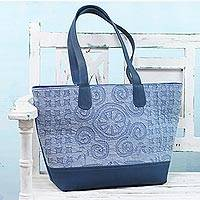 Leather accent cotton tote bag, 'Starry Blue' - Leather Accent Cotton Appliqué Tote in Blue from India
