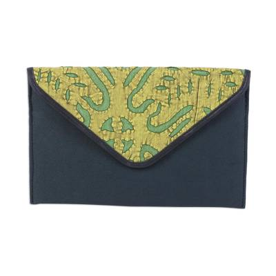 Leather Accent Cotton Appliqu?�?�?�?� Tablet Case in Pine Green