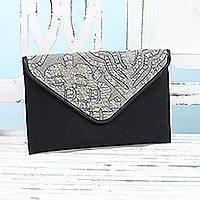 Leather accent cotton tablet case, 'Traveling Style in Black' - Leather Accent Cotton Appliqué Tablet Case from India