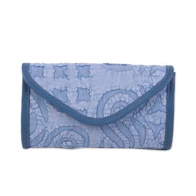 Novica Leather accent cotton sling, Delhi Blue