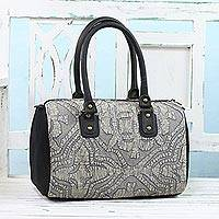 Leather accent cotton handbag, 'Energetic Grey' - Leather Accent Cotton Appliqué Handle Handbag from India