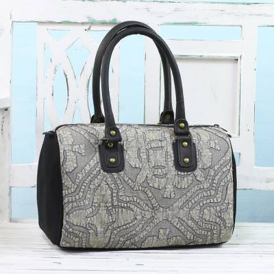 Leather accent cotton handbag, Energetic Grey