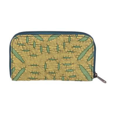 Cotton Appliqu?�?�?�?� Card Case in Avocado and Honey from India