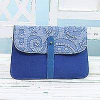 Leather accent cotton tablet case, 'Work and Play' - Leather Accent Cotton Appliqué Tablet Case in Blue
