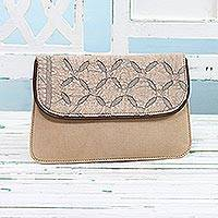 Leather accent cotton tablet case, 'Busy Traveler' - Leather Accent Cotton Appliqué Tablet Case in Beige