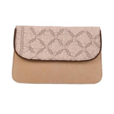 Leather Accent Cotton Appliqu?�?�?�?� Tablet Case in Beige