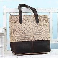 Leather accent cotton tote bag, 'Beige Web' - Leather Accent Cotton Appliqué Tote in Beige from India