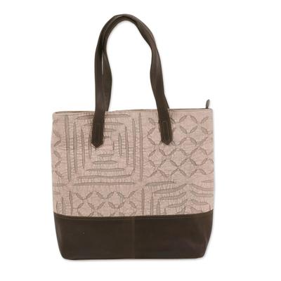 Novica Leather accent cotton tote bag, Trendy Blue