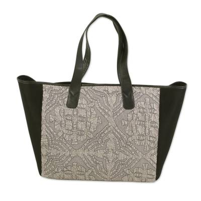 Novica Leather accent cotton tote bag, Traditional Flair