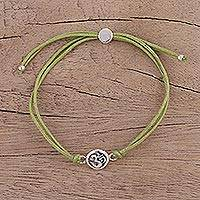 Sterling silver pendant bracelet, 'Om Saga in Green' - Om Pendant Bracelet in Sterling Silver with Cotton Cords