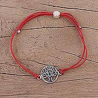 Sterling silver pendant bracelet, 'Divine Tree in Red' - Sterling Silver Tree of Life Cotton Cord Bracelet from India
