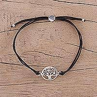 Sterling silver pendant bracelet, 'Divine Tree in Black' - Sterling Silver Tree of Life Cotton Cord Bracelet from India