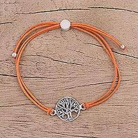 Sterling silver pendant bracelet, 'Divine Tree in Orange' - Sterling Silver Tree Pendant Bracelet in Orange from India