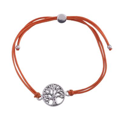 Sterling silver pendant bracelet, 'Divine Tree in Orange' - Sterling Silver Tree Pendant Bracelet in Orange from India