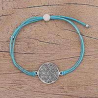 Sterling silver pendant bracelet, 'Starry Seeds in Sky Blue' - Sterling Silver Circular Bracelet in Sky Blue from India