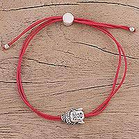 Sterling silver pendant bracelet, 'Buddha Companion in Red' - Sterling Silver Buddha Pendant Bracelet in Red from India