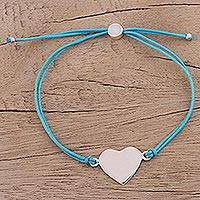 Sterling silver pendant bracelet, 'Heartfelt Shimmer in Sky Blue' - Sterling Silver Heart Bracelet in Sky Blue from India