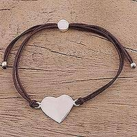 Sterling silver pendant bracelet, 'Heartfelt Shimmer in Brown' - Sterling Silver Heart Pendant Bracelet in Brown from India