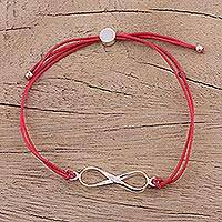Sterling silver pendant bracelet, 'For Ever and Ever in Red' - Sterling Silver Infinity Pendant Bracelet in Red from India