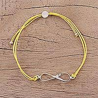 Sterling silver pendant bracelet, 'For Ever and Ever in Yellow' - Sterling Silver Infinity Bracelet in Yellow from India
