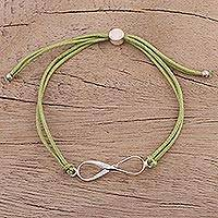 Sterling silver pendant bracelet, 'For Ever and Ever in Olive' - Sterling Silver Infinity Bracelet in Olive from India