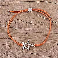 Sterling silver pendant bracelet, 'Starry Shine in Orange' - Sterling Silver Star Pendant Bracelet in Orange from India