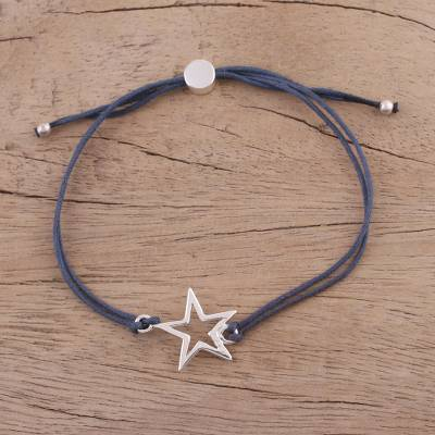 Novica Sterling silver pendant bracelet, Starry Shine in Black