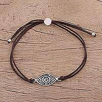 Sterling silver pendant bracelet, 'Alluring Eye in Brown' - Sterling Silver Eye Pendant Bracelet in Brown from India