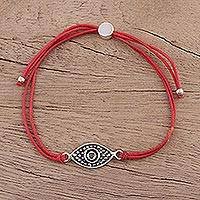 Sterling silver pendant bracelet, 'Alluring Eye in Red' - Sterling Silver Eye Pendant Bracelet in Red from India