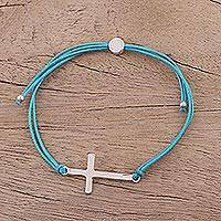 Sterling silver pendant bracelet, 'Heavenly Connection in Blue' - Sterling Silver Cross Bracelet in Sky Blue from India