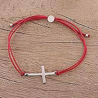 Sterling silver pendant bracelet, 'Heavenly Connection in Red' - Sterling Silver Cross Pendant Bracelet in Red from India