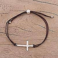 Sterling silver pendant bracelet, 'Heavenly Connection in Brown' - Sterling Silver Cross Pendant Bracelet in Brown from India