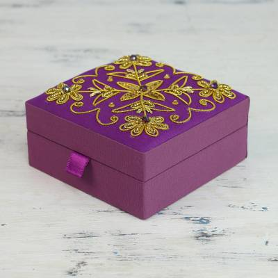Decorative cotton box, 'Purple Glamour' - Purple Cotton Covered Wood Decorative Box with Embroidery