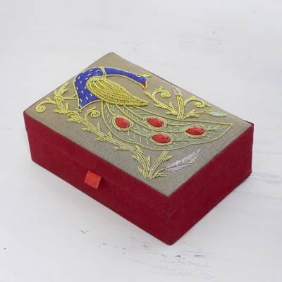Cotton jewelry box, 'Dignified Peacock' - Cotton Jewelry Box with Beaded Peacock from India