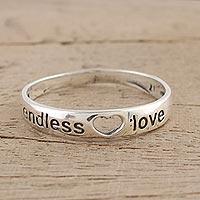 Sterling silver band ring, 'Heartfelt Promise' - Sterling Silver Love-Themed Band Ring from India